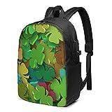 Leaf Clover Luck - Mochila USB de fondo colorido de 17 pulgadas, mochila grande para portátil para hombres, mujeres, adolescentes, carga USB/puerto de auriculares, paquete de día