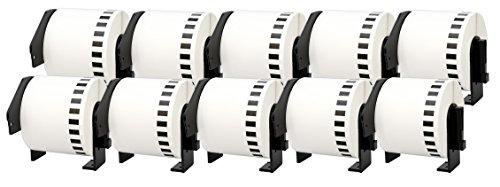 10x DK-22205 62mm x 30,48m Endlosetiketten Papier kompatibel für Brother P-Touch QL-1050 QL-1060N QL-1110NWB QL-1100 QL-500 QL-500BW QL-560VP QL-570 QL-580 QL-700 QL-710W QL-800 QL-810W QL-820NWB
