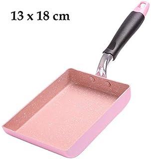 NERB 15 * 18 Piedra Médico Rosa sartén Tamagoyaki Japonesa Fabricante de aleación de Aluminio de la Cacerola Antiadherente Fry Huevo Pan Pot Crepe Rosa Utensilios de Cocina (Color : S Pink)
