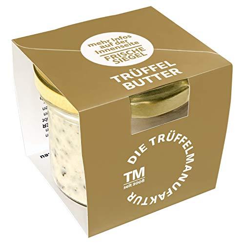 Die Trüffelmanufaktur - Feinkost Trüffelbutter mit 15{c457aaa4556ea3488f94d4ef0625b2bbe81f473a69f0cefc35d7635ee883c6c7} echtem frischen schwarzem Trüffel, die Delikatesse für Feinschmecker, weiße Trueffel-Butter im Glas á 95 g - hergestellt in Deutschland