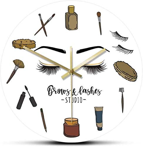 WAIGE Reloj de pared redondo de acrílico, para cejas, estudio, silencioso, de cuarzo, para pared, decoración de arte de pared, para negocios, para decoración de pestañas, regalo de mujer, 12 pulgadas