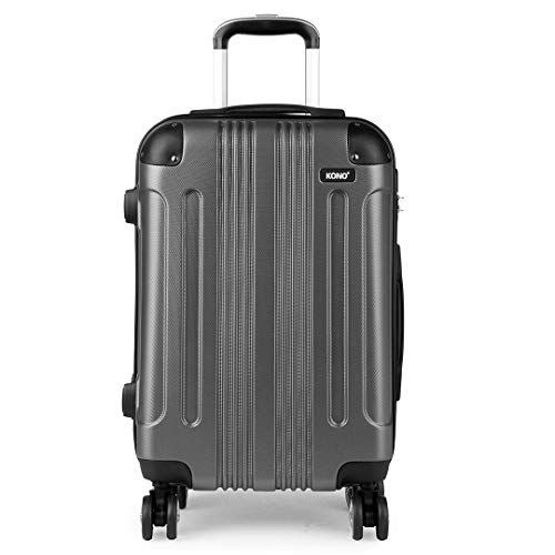 Kono Carry on Suitcase 56x37x23cm Lightweight ABS Travel Trolley Case 39L with 4 Spinner Wheels (Grey)