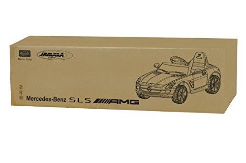 RC Auto kaufen Kinderauto Bild 5: Jamara 404610 - Ride-on Mercedes SLS AMG weiß 40MHz 6V – Kinderauto, leistungsstarker Motor und Akku, bis zu 90 Min Fahrzeit,Ultra-Gripp Gummiring am Antriebsrad,Anschluss von Audioquellen,Sound,Licht*