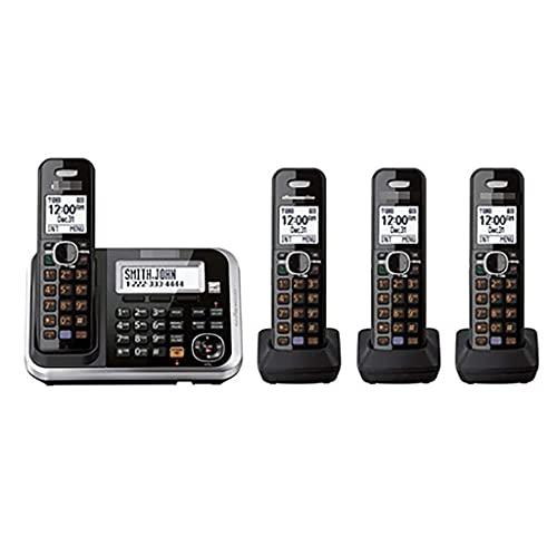 Teléfono residencial inalámbrico DECT, teléfono de Escritorio con Botones Grandes, configuración de Dos Idiomas, Llamada tripartita, hasta 6 Auriculares (Color: D)
