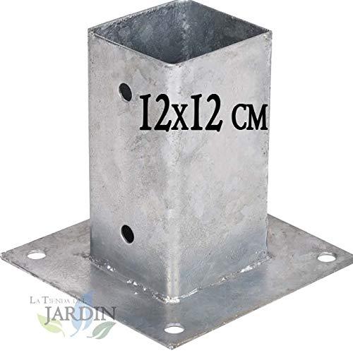 Suinga - ANCLAJE CUADRADO METALICO 12x12 cm, base 17,5x17,5 cm. Ideal para postes de madera.