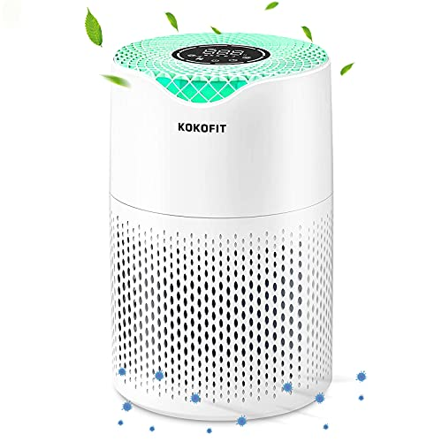 KOKOFIT HEPA Air Purifier for Home Bedroom, Allergies and Pets Hair Smokers, Small True HEPA Filter...