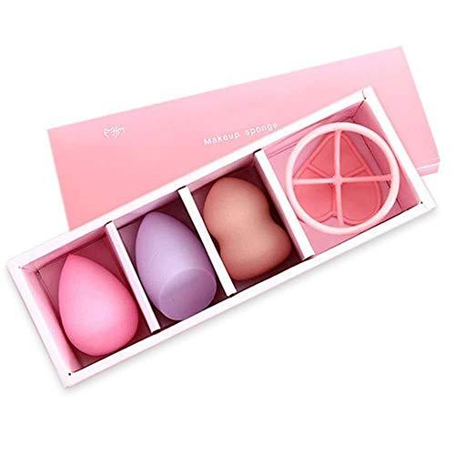 Facial 3 + 1 kit de bouffe gourde maquillage sec et humide éponge outil beauté beauté gourde oeuf ensemble beauté Sponge Beauty (Couleur: Rouge) (Color : Pink sable set)