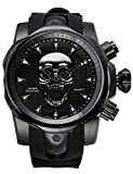 All Black Mens Watch Stainless Steel Analog Wristwatches Skull 3D Ghost Large Cool Dial Designer Watches