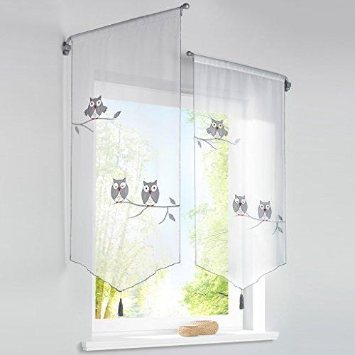 HongYa 1er-Pack Panneaux Eule Muster Bestickter Kurzstore Transparenter Voile Küche Gardine Tunnelzug H/B 60/40 cm