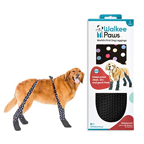 Walkee Paws Snug Fit Dog Leggings, The World's First Dog Leggings That are Dog Shoes, Dog Boots and Dog Socks All in One, As Seen on Shark Tank (Confetti, L)