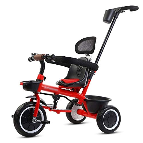 Kids driewielers, Mini Kids Driewieler met duwbeugel, 2 in 1 Opvouwbaar Steer kinderwagen, loopfiets, Storage Basket, Bell, Duurzaam Wheels (Color : Red)
