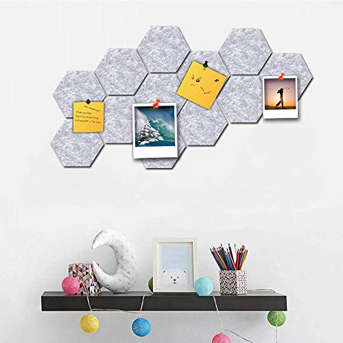 Hexagon Felt Pin Board Self Adhesive Bulletin Cork Boards Foam Wall Decorative Tiles with Push Pins to Keep Notes Photos for Home Bedroom Wall Decor Decal