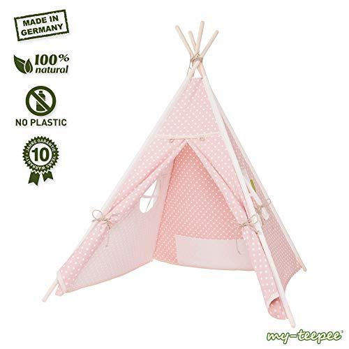 my-teepee, Tente tipi pour garçons ou Filles de 2 à 8 Ans, piquets en épicéa Naturel, Toile 100% Coton, Montage Rapide, Rose …