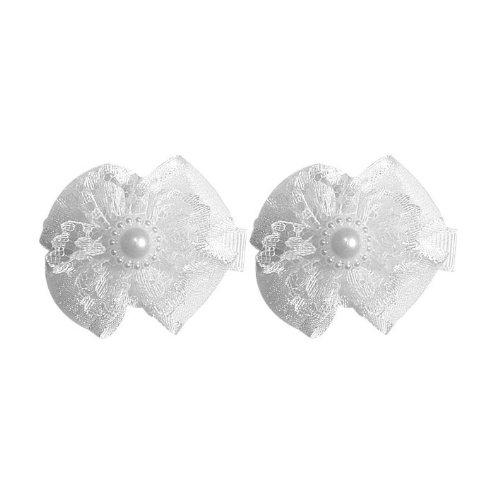 Sg Paris Accessoires Cheveux Enfant Pince Set 2 pièces Dentelle Blanc Cérémonie