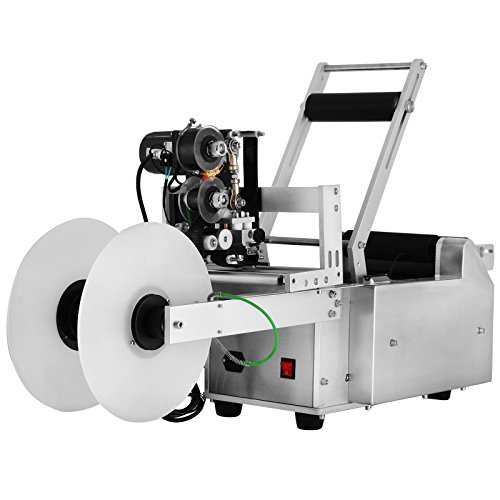 Mophorn LT-50D 2 in 1 Semi Automatic Round Bottle Labeling Machine 40PCS/Min Labeler Machine 100W Combo Coder and Labeler Label Applicator