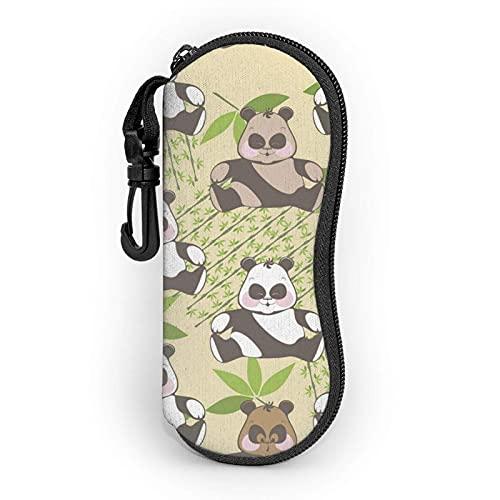 Gafas de sol con cremallera suave caso de los ojos con clip de cinturón divertido sonrisa panda bambú portátil Gses bolsa