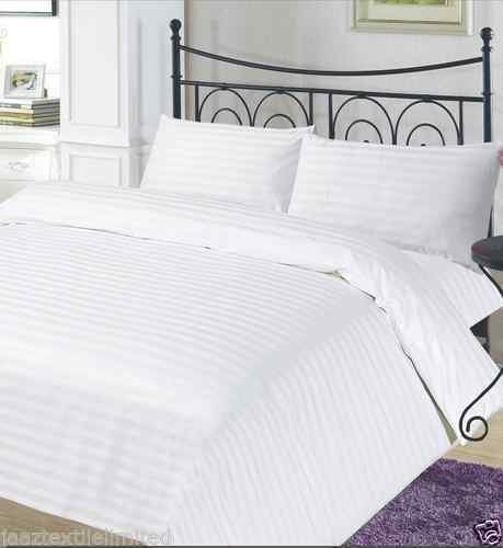 A&R ARLINENS Luxurious Stripe Satin T300 100% Cotton Duvet Cover with Pillowcases Bedding Set Color White in following Sizes (DOUBLE)