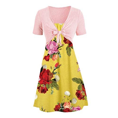 Zegeey Damen Sommerkleider Retro Sling Set Cardigan Zweiteiliges Set Sommer Kleider Festlich Geschenk Partykleider Cocktail Abendkleid Blumenkleid(A4-Gelb,48 DE/5XL CN)
