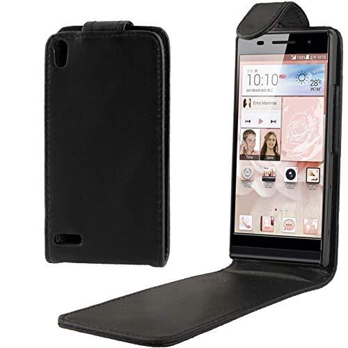 ZHANGJIALI Jiali Casos de teléfono Celular Funda de Cuero Suave de Flip Vertical DFRC para Huawei Ascend P6 (Negro)
