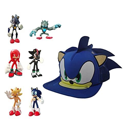 XINKO Sonic Baseball Cap Anime Figura de Accin Mueca Coleccionable Modelo de Juguete Estatuilla Nios Regalo Cumpleaos Navidad Sonic el erizo
