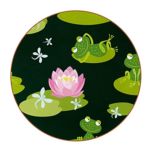 Posavasos con diseño de hojas verdes de Lotus Pond de 4,7,6 cm, antimanchas, cristal antiarañazos y antideslizante, un juego de 6 absorbentes