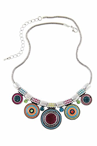 Beauneo Collar de estras de aleacion de Bohemia de Multicolor para Mujeres