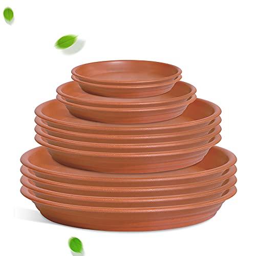 PUDSIRN 12 platillos para macetas de 14,5 cm, 19 cm, 25 cm, bandejas de plástico para goteo, platos redondos para interiores y exteriores
