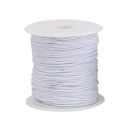 Weddecor X 500 m X 1 mm Blanc Couleur Cordon élastique Filetage Finition lisse très résistant élastique de qualité pour la couture, tricot, arts & craft, blanc, 500 m
