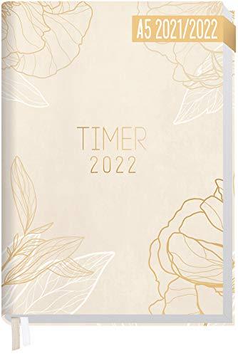 Chäff-Timer Classic A5 Kalender 2021/2022 [Cream Flower] Terminplaner, Terminkalender für 18 Monate: Juli 2021 bis Dez. 2022 | Wochenkalender, Organizer mit Wochenplaner | nachhaltig & klimaneutral