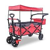 Carro plegable con techo, carro plegable para exteriores, carro de transporte con barra telescópica, carro de playa, con frenos, ruedas grandes adecuadas para todo tipo de terrenos, color rojo