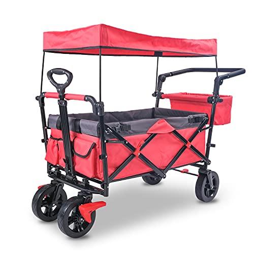 Carro plegable con techo, carro plegable para exteriores, carro de transporte con barra telescópica, carro de playa,...