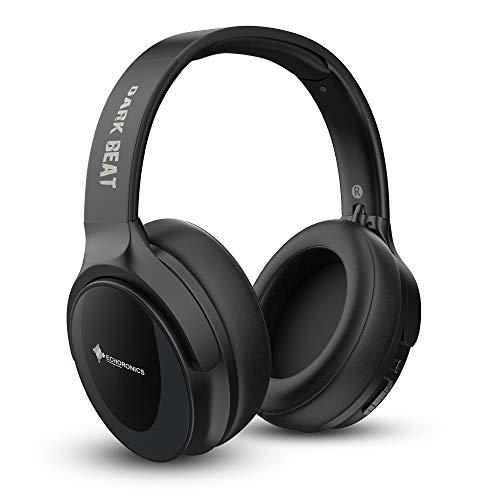 MevoFit Dark Beat Wireless Bluetooth-Headphone: On-Ear-Bluetooth-Headphones-with-Mic | SD-Card | Wireless-Bluetooth-Headphones-with-Mic & Ultra-Deep-Bass AUX (Black)