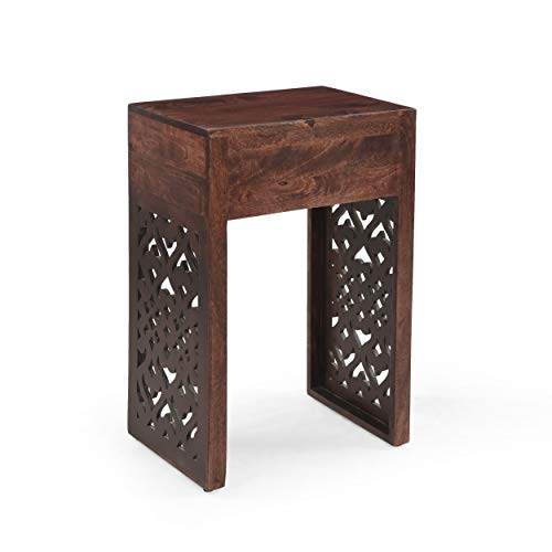 Review Of Traditional Mango Wood Bedside Table - 18.00 W X 13.00 D 27.25 H Brown Rectangle MDF Dr...
