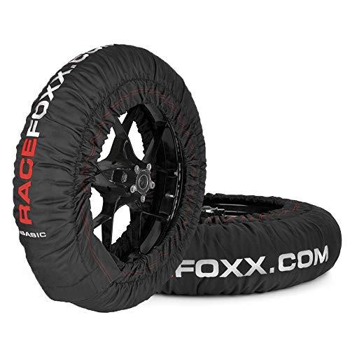 Reifenwärmer Tire Warmers RACEFOXX Basic 80° C Heiztemperatur SUPERMOTO, 120/17 vorne und 160/17 hinten Rennsport Heizdecken Motorradreifen