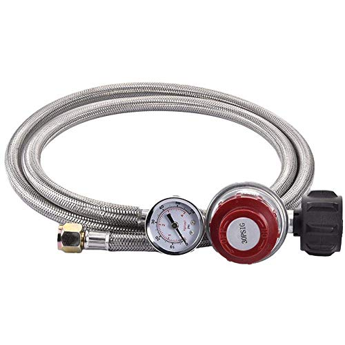 NEYOANN 0 ~ 30 Psi Regulador de propano Regulador de gas de alta presión ajustable trenzado 3/8 pulgadas Flare Conector de manguera de tuerca giratoria con indicador para fundición de forja
