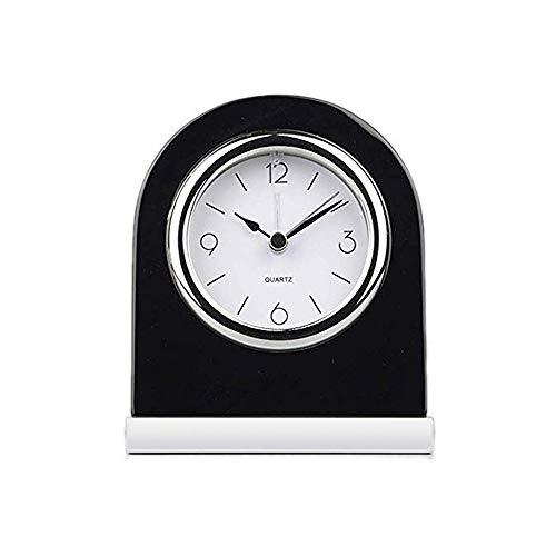 GAONAN Hölzerne Tischuhr Klassische Tischuhr Personalisierte Massivholz-Tischuhr, Silberne Unterseite, Klassische Weinlese-Art-Quarz-Uhr