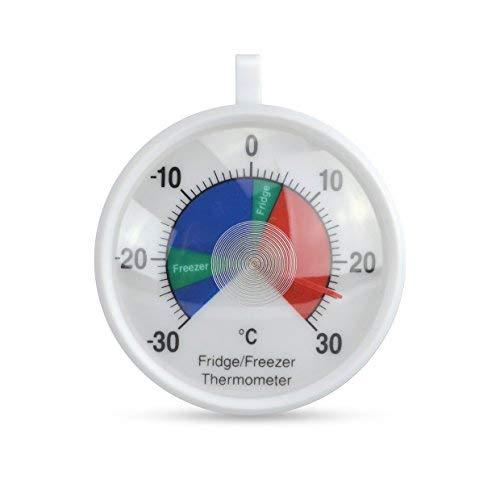 ETI Thermomètre pour réfrigérateur/congélateur doté d'un cadran de 70 mm avec code couleur et zones de température de sécurité