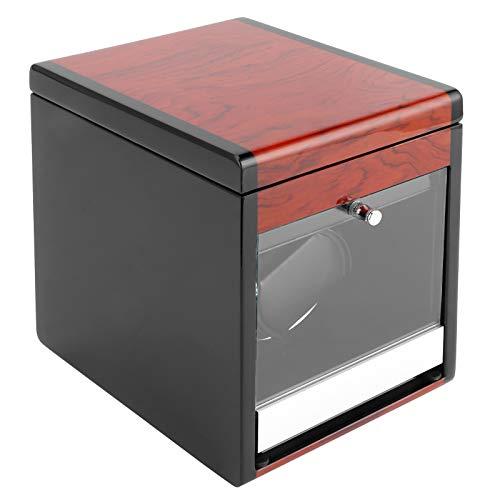 Enrollador de Reloj automático para 1 Reloj, Caja de presentación de Reloj con Almacenamiento Adicional de Reloj, iluminación LED, Acabado de Piano de Carcasa de Madera(Enchufe de la UE)