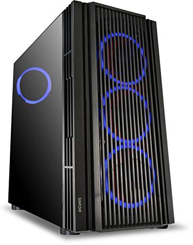 Gabinete Mid-Tower Atmos Preto com 4 Fans 120Mm Led Azul - Lateral em Vidro Temperado - Atptaz4Fcv