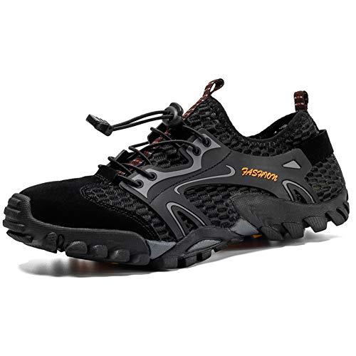 SKTWOE Zapatos de Senderismo, Malla Transpirable Climbig Zapatos de montaña con Suela elástica Hombre con Zapatos de vadeo al Aire Libre para Hacer Ejercicio,Negro,50EU