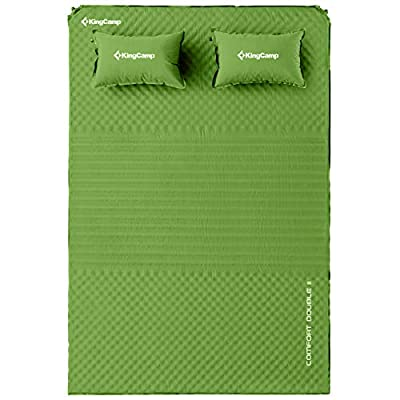 KingCamp Triple Zone Comfort Double Self Inflating 75D Micro Brushed Sleeping Pad Mattress with 2 Pillows (Green)