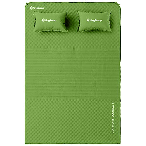 KingCamp Comfort Double Self Inflating 75D Micro Brushed Sleeping Pad with 2 Pillows (Green)