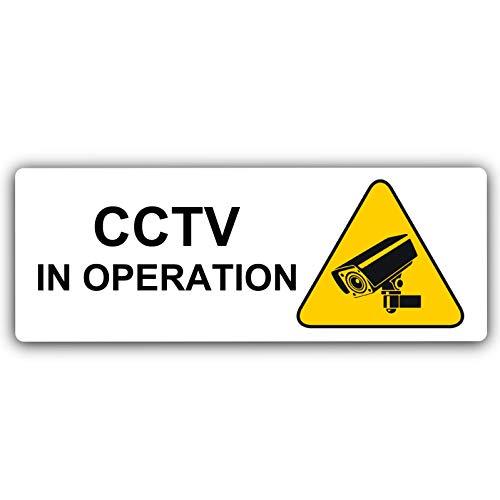 Warnschild aus Aluminium für Überwachungskamera, mit Bild gebürstet, weißes Metall, Sicherheitskamera, Tür-Hinweis für Schule, Büro, Restaurant, Geschäft, Firma, Zuhause