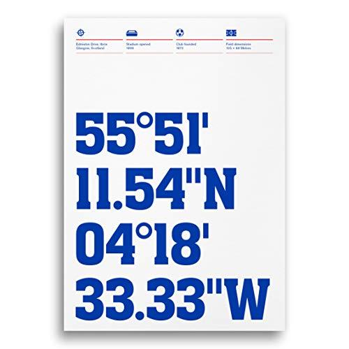 Glasgow Rangers Stadium Coordinates Typography Print, Football Ground...