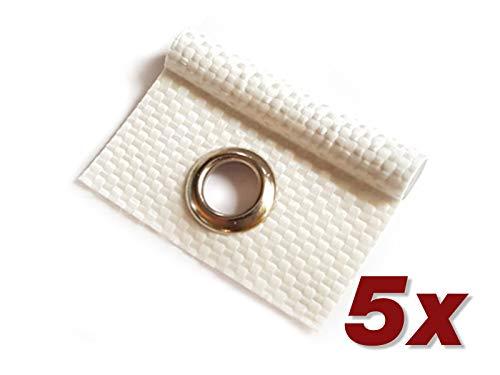 ANKO Planen 5 x Kederöse für Kederschiene weiß/schwarz D=7,5 mm Camping Öse Kederband Vorzeltkeder!! (Weiß)