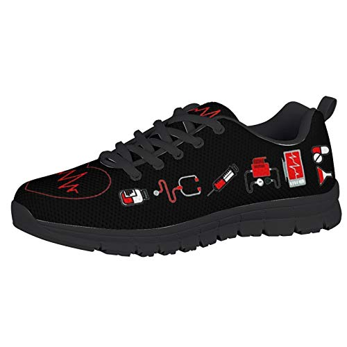 HUGS IDEA Moda Pisos De Espuma Livianos Deporte Moda Dibujos Animados Latido del CorazóN Negro Elegantes Zapatos para Correr Fitness Calzado para Correr Gimnasio Fitness Calzado Deportivo EU 37