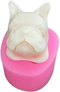 SHIJIAN - Molde de silicona cilíndrica para repostería con forma de cabeza de perro, color
