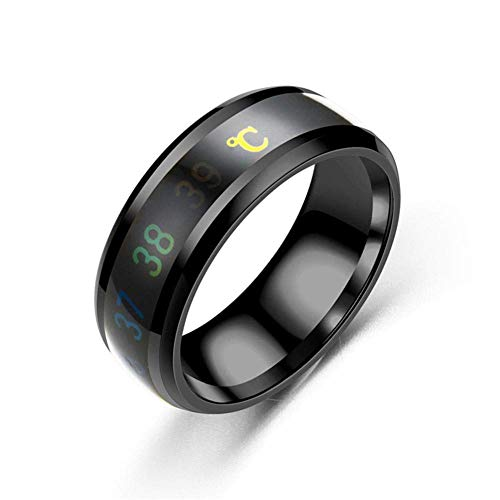 JXFS Temperature Monitor Rings, Digital Thermometer Body Temperature Sensor Smart Rings Wedding Couple Lovers Rings, Suitable Size Titanium Steel Wave Rings-black-10#