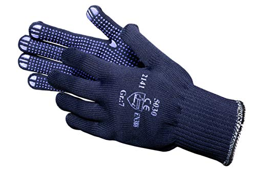 JAH 5030 Baumwolle/Polyester Strickhandschuh, Noppen, Mittelschwer, Blau, 8, 24 Stück