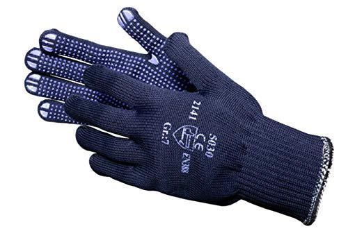 JAH 5030 Baumwolle/Polyester Strickhandschuh, Noppen, Mittelschwer, Blau, 7, 24 Stück